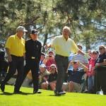 """""""Big three"""": Jack Nicklaus, Arnold Palmer và Gary Player thu hút mọi ống kính khi cùng nhau bước ra sân. Hình chụp: John Biever/SI"""