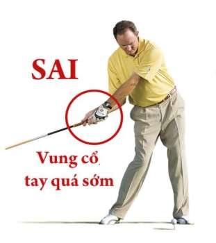 vung co tay qua som Hướng dẫn đánh driver khi đánh golf (phần 3)