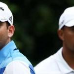 Sergio Garcia và Tiger Woods tại vòng 3 Players Championship.