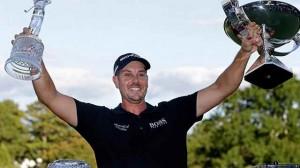 Henrik Stenson trở thành tay golf Châu Âu đầu tiên giành chiến thắng kép tại FedEx Cup playoff. Hình chụp: John Bazemore/The Associated Press