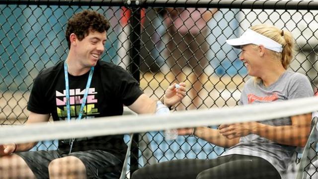 McIllroy và Wozniacki hạnh phúc bên nhau tại giải Brisbane International. Hình chụp: Mark Calleja/ News Limited