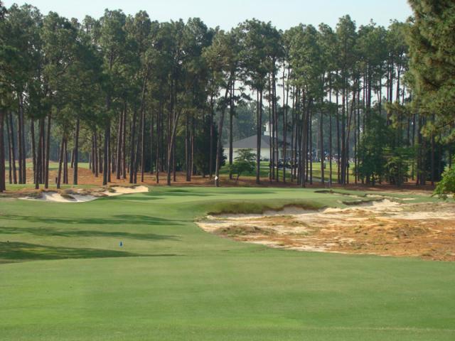 Green nhỏ có hình mai rùa, rất khó giữ bóng trên green sau cú đánh tiếp cận là một trong những khó khăn đối với người chơi. Hình chụp: Golf Club Atlas